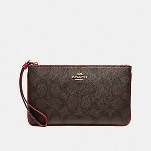 Coach | Signature PVC Large Wristlet - Brown/Red